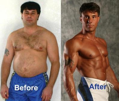 Before and after pictures showing how that Truth About six pack abs work